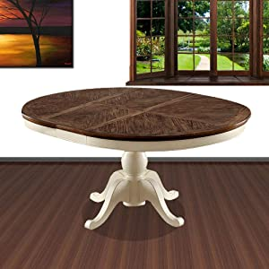William's Home Furnishing HARRISBURG Table, Vintage White and Dark Oak