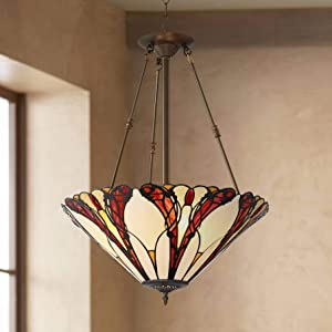 "Karmen Bronze Pendant Chandelier 21"" Wide Tiffany Style Abstract Petal Pattern Art Glass Shade 3-Light Fixture for Dining Room House Island Entryway Bedroom Living Room - Robert Louis Tiffany"