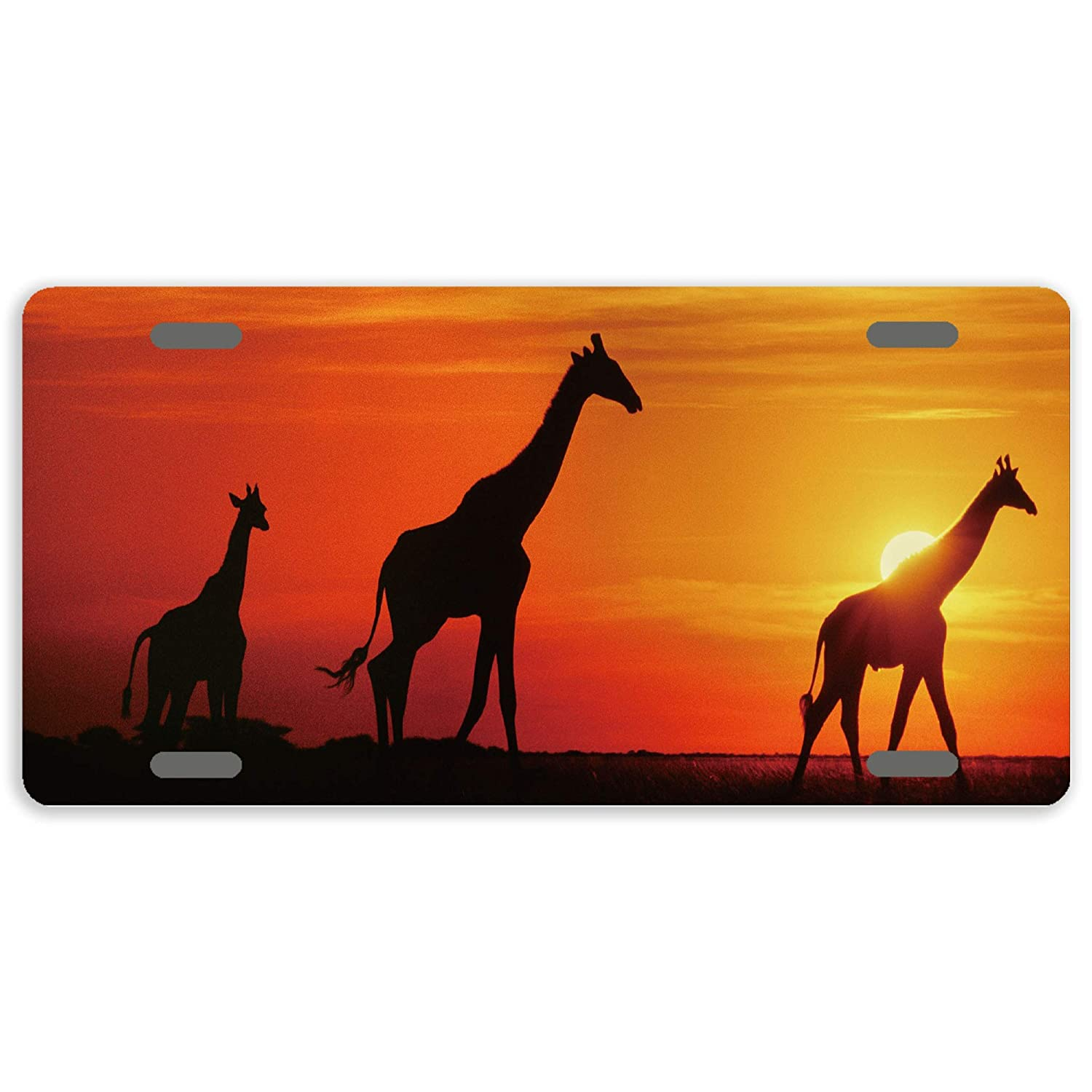 AnweiLicense Plate Cover Sunset Giraffes Decorative License Plate Cover Car Tag Sign Metal Auto Tag Novelty Front License Plate 4 Holes 12 x 6