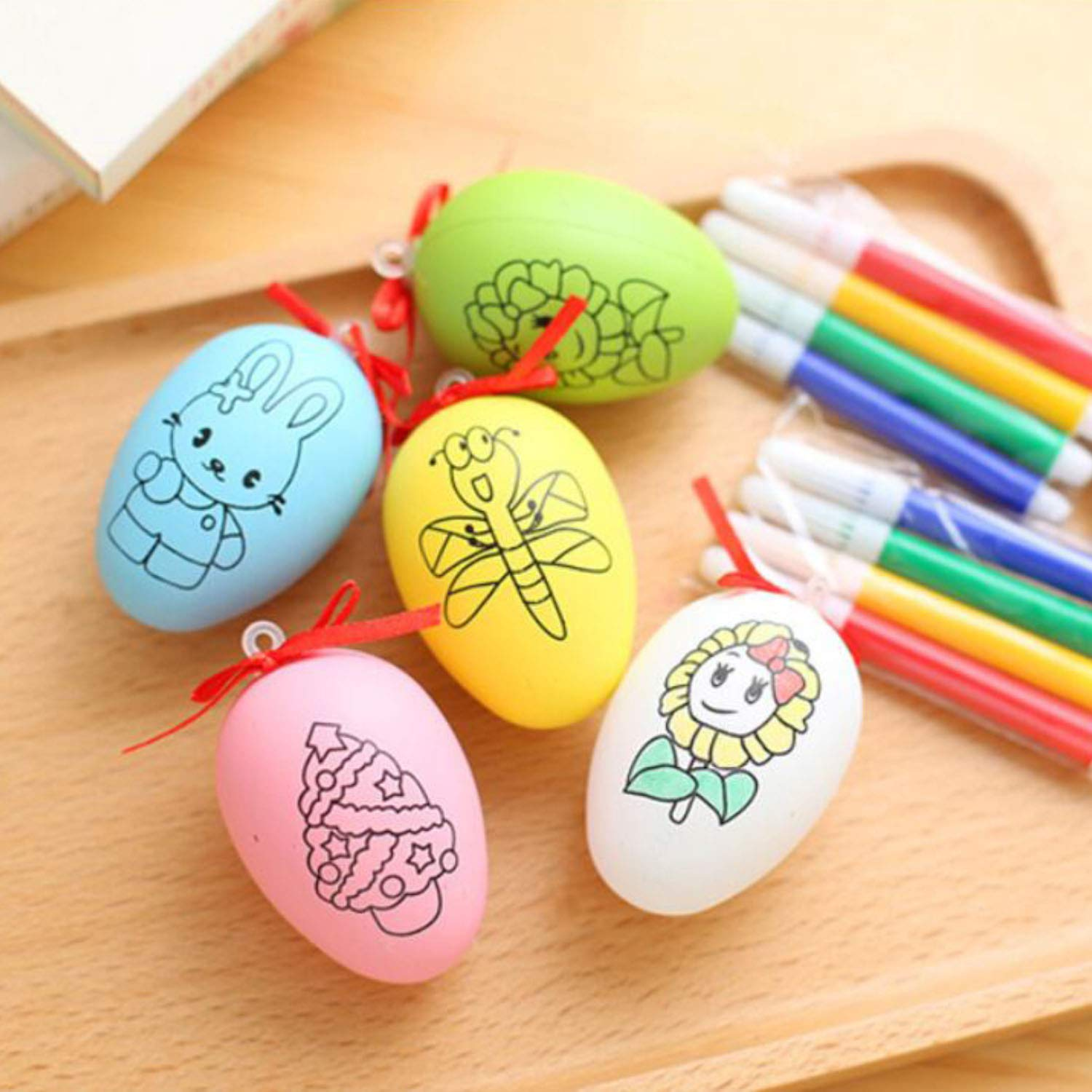 Easter Eggs Popmall 6 pcs Plastic Easter Eggs DIY Easter Eggs Plastic Eggs Artificial Egg DIY Decor Egg toys Hanging Ornament with 8 Color Pens