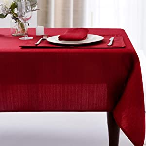 Christmas Luxury Stripe Fabric Table Cloths, Heavy Weight 100% Polyester Tablecloths Washable, No Iron, Water Resistance Soil Resistant Holiday Table Cover for Dining,52 Inch x 70 Inch Oblong,Burgundy