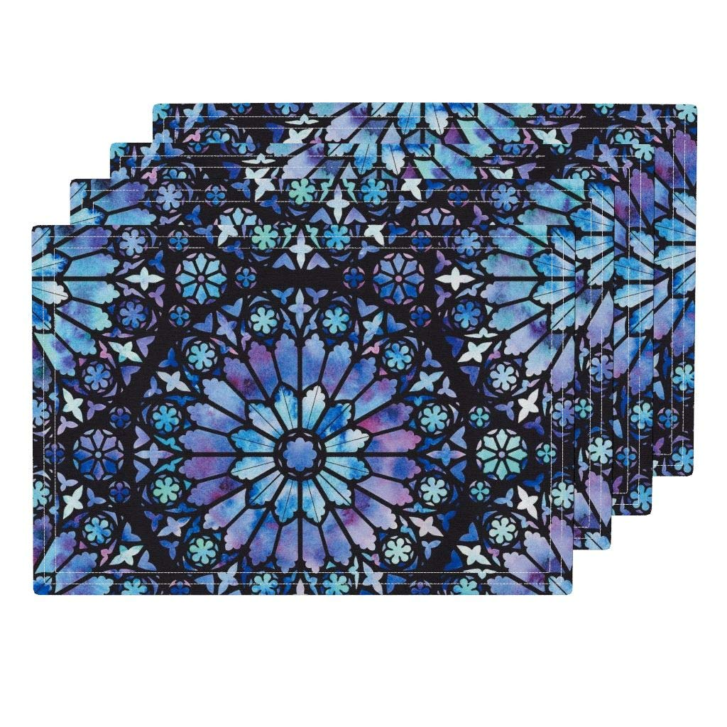 Roostery Stained Glass 4pc Eco Canvas Cloth Placemat Set - Cathedral Church Water Color Water Colour Watercolor Rose Window by Logan Spector (Set of 4) 13 x 19in