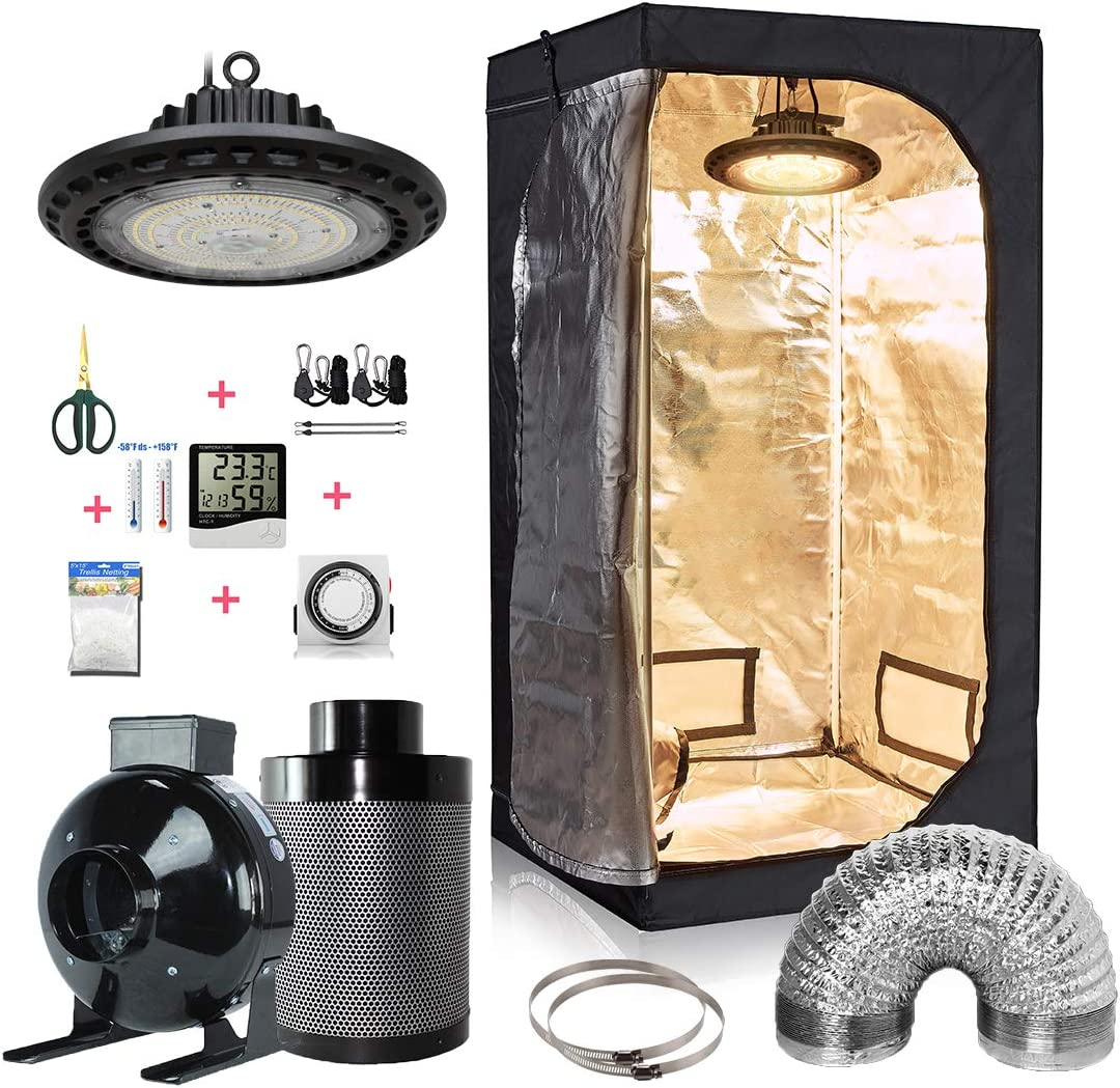 GreenHouser 32 x32 x63 Grow Tent LED300W 4 Filter Combo 24 Hours Timer Hangers Temperature Humidity Bonsai Shears Netting Trellis LED300W 32 x32 x63 Kit 4 Filter Combo