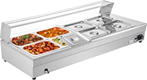 VEVOR 8-Pan Bain Marie Food Warmer 6-Inch Deep, 110V Food Grade Stainelss Steel Commercial Food Steam Table, 1500W Electric Countertop Food Warmer 88 Quart with Tempered Glass Shield