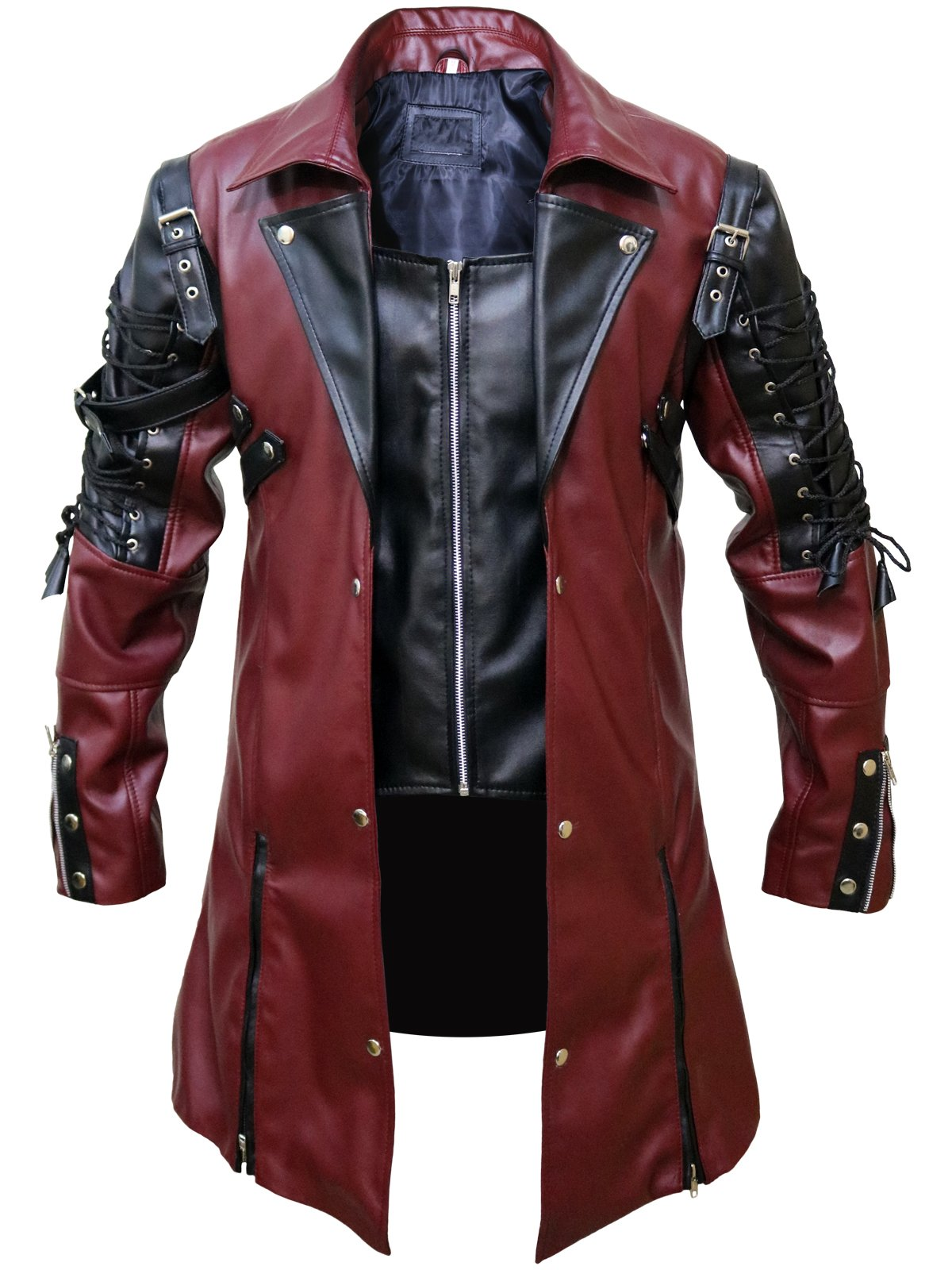 FaddyRox Steampunk Gothic Men Faux Leather Maroon & Black Coat Jacket, XXS - 3XL 3