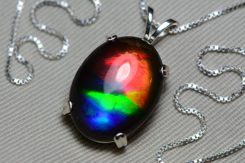 6ea2c8e57 Amazon.com: Ammolite Necklace, Sterling Silver, 20x15mm Pendant, Alberta  Canada Gem Jewelry, Wood Gift Box, Real Natural Genuine Ammolite Jewellery  T37: ...
