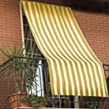 Tenda da sole 150x290cm in tessuto a strisce con anelli ombra per balcone terrazzo casa (GIALLO)