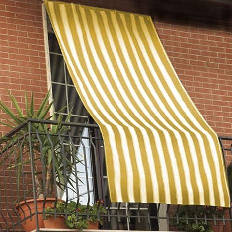 Tende Da Sole Per Balconi.Tenda Da Sole 150x290cm In Tessuto A Strisce Con Anelli Ombra Per Balcone Terrazzo Casa Giallo
