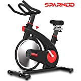 Sparnod Fitness SSB-15 Spin Bike Exercise Cycle for Home Gym (Free Installation Service) - with 15kg Spinning Flywheel - Heavy Duty Indoor Stationary Cycling Trainer Machine