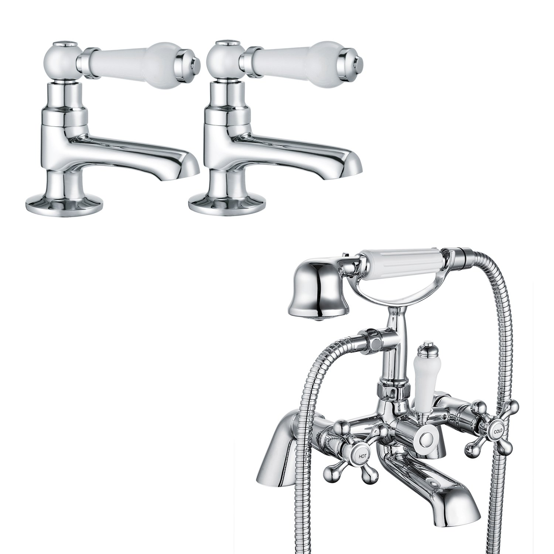 Funime Victoria Bathroom Bath Shower Taps Handheld + Bathroom Basin Taps with UK Standard Fittings