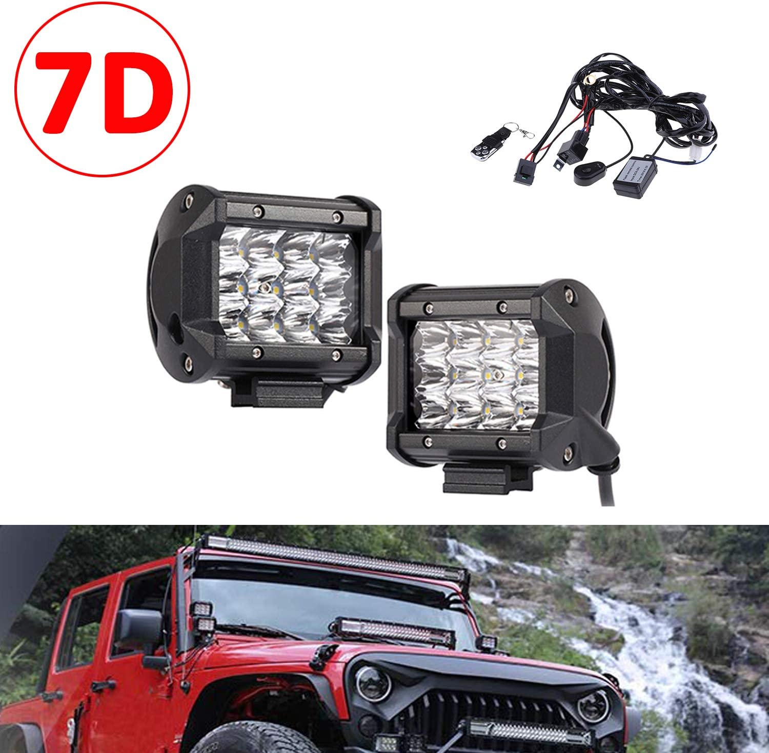 4inch 36W Triple Row Spot Driving Light Fog Lamp with Wiring Harness Kit for Offroad Boat Truck 4WD SUV Boat ATV 4x4 Pickup SKYWORLD 7D LED Work Light Bar