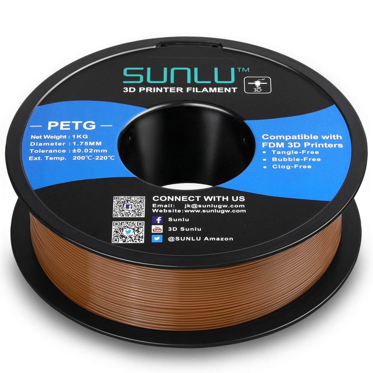 Dimensional Accuracy +//- 0.02 mm SUNLU PETG Filament 1.75mm with sunlu upgrade 1kg Spool Fit Most FDM Printer 2.2lbs Blue