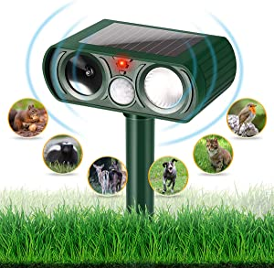 Dog Chaser, Outdoor Solar Powered and Weatherproof Ultrasonic Animal Chaser With PIR Sensor