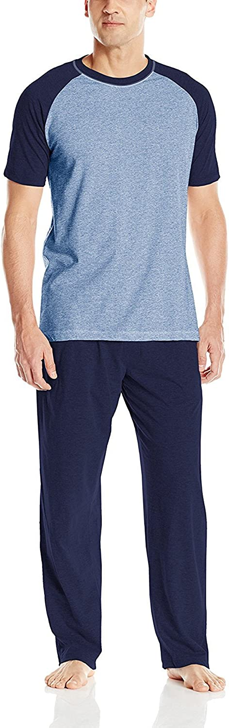 Hanes Men's Short Sleeve Raglan & Knit Pant Set with X-Temp