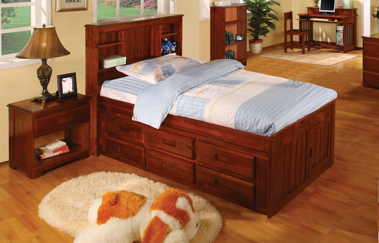 Twin Captains Bed Bookcase with 6 Drawers, Desk, Hutch, Chair and 5 Drawer Chest in Merlot Finish