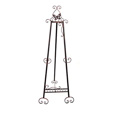 Designstyles Decorative Metal Easel Stand – Adjustable Floor Display for Art Pieces, Signs, Mirrors and Chalk/Dry Erase Boards - 61  Tall, Antique Finished Iron, Bronze - Butterfly Design