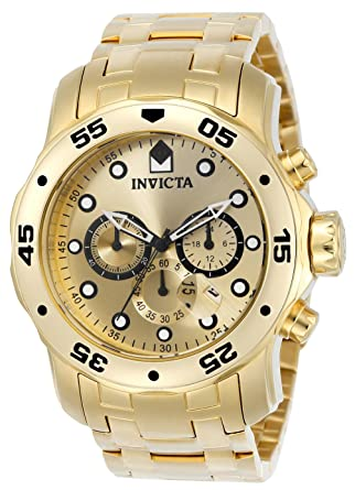 805c8893a10 Invicta Men s 0074 pro Diver Analog Japanese Quartz 18k Gold-plated  Stainless Steel Watch