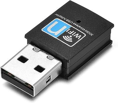 Yizhet USB WiFi Adaptador, WiFi Antena 300Mbps Mini USB WiFi Receptor para PC/Desktop/Laptop, WiFi Dongle Soporte Windows10/8/8.1/7/Vista/XP/Linux/Mac ...