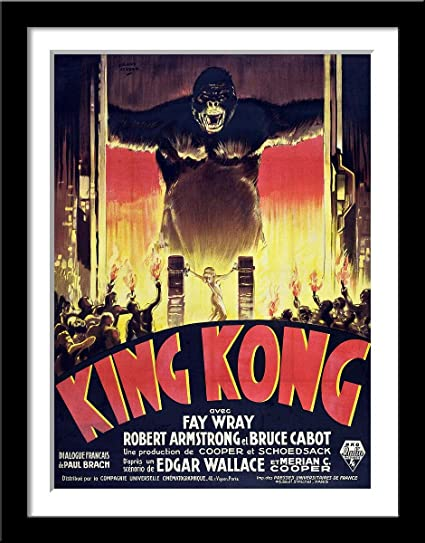 Tallenge King Kong 1933 French Release Classic Hollywood Movie Poster Large Framed Poster Paper 18 X24 Inches Multicolour