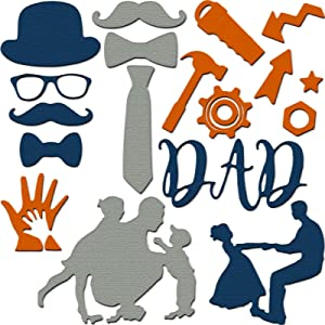 7 Pieces Father's Day Cutting Dies Metal Cutting Dies Father and Son Metal Die Cuts Happy Father's Day Theme Cut Dies for DIY Decorative Embossing Photo Album Card Making Scrapbooking Crafts