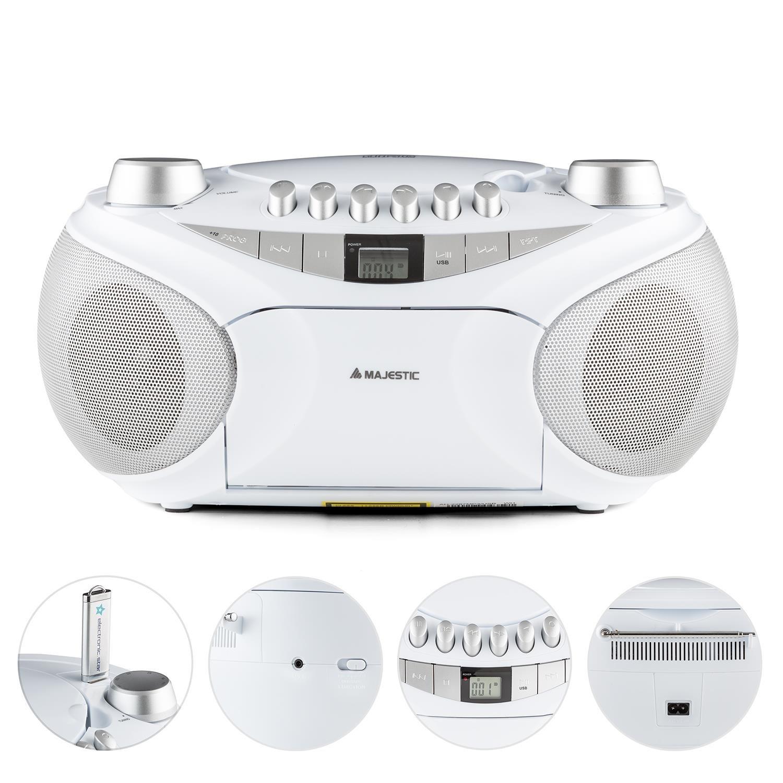 Majestic AH-2387 • Reproductor de CD y MP3 • Radio • Boombox • Entrada USB • Entrada AUX 3,5 mm• Portátil • Casetera con función grabación • Sintonizador FM ...