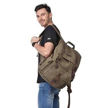 Kattee Men's Leather Canvas Backpack Large School Bag Travel Rucksack