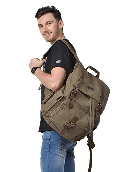 621f5bd885 Kattee Vintage Canvas Leather Hiking Travel Backpack Army Green ...