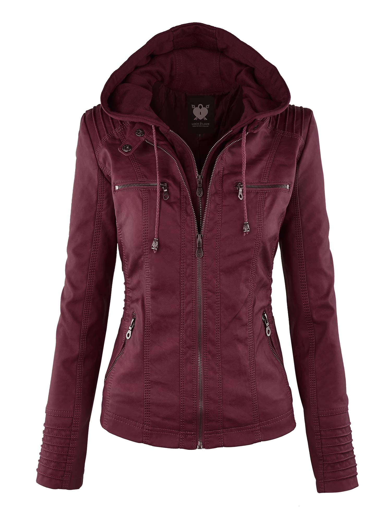 Lock and Love LL WJC663 Womens Removable Hoodie Motorcyle Jacket XXL Wine