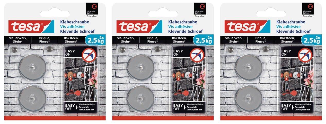 77905-00000-00 Tesa adhesivas Tornillo para muros y piedra, potencia de retenci/ón 5/kg, 2/unidades
