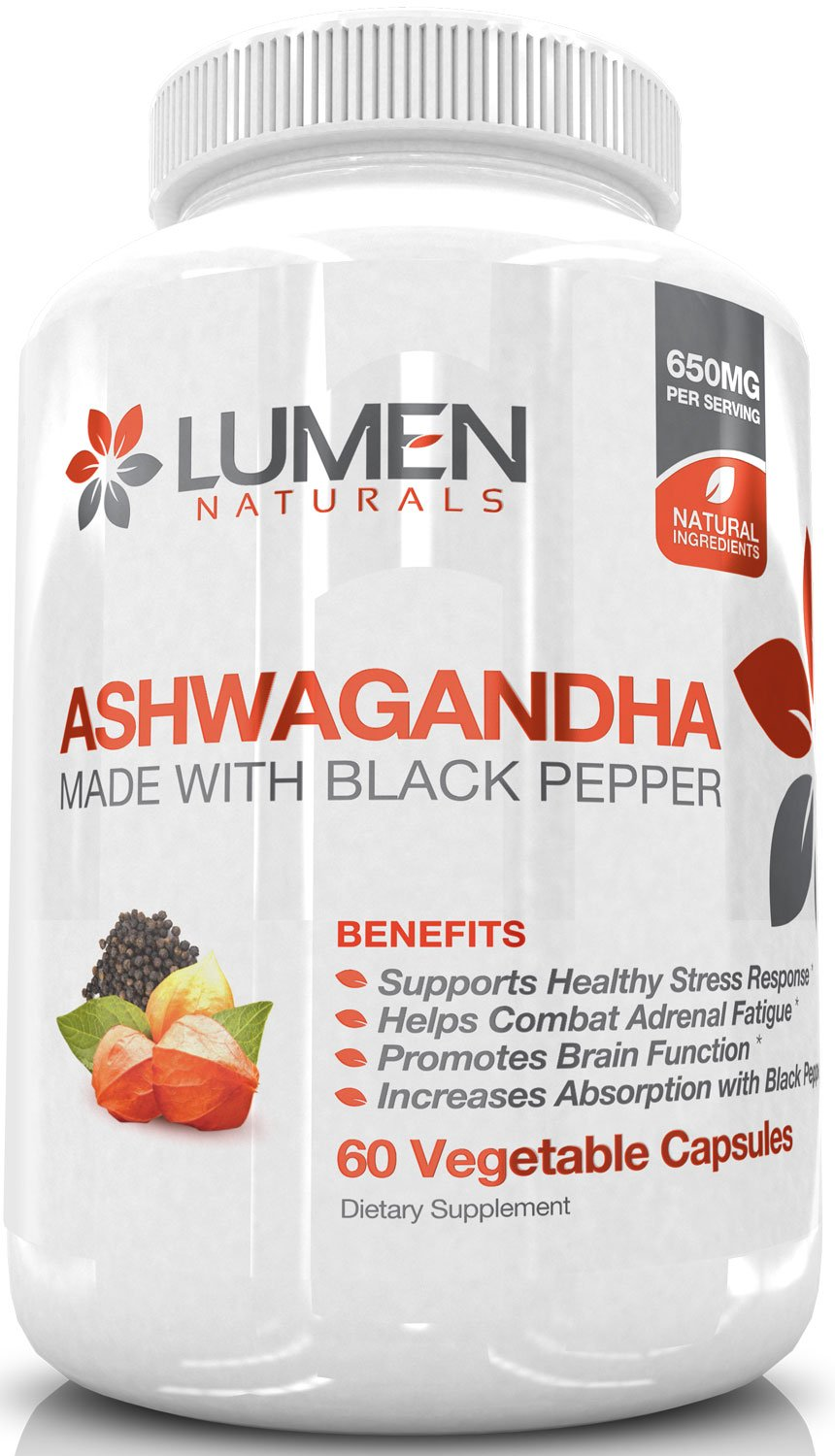 Ashwagandha Capsules with Black Pepper - Powerful Stress & Anti-Anxiety Relief for Improved Adrenal & Thyroid Support - Naturally Support Mood & Energy to Reduce Stress & Enhance Sleep - 60 Count