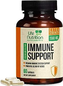 Immune System Booster Immunity Support Vitamins 1560mg - Natural Multi-System Wellness Defense Supplement w/Vitamin C & Turmeric, Immune Health Pills for Men & Women, Made in USA - 60 Capsules