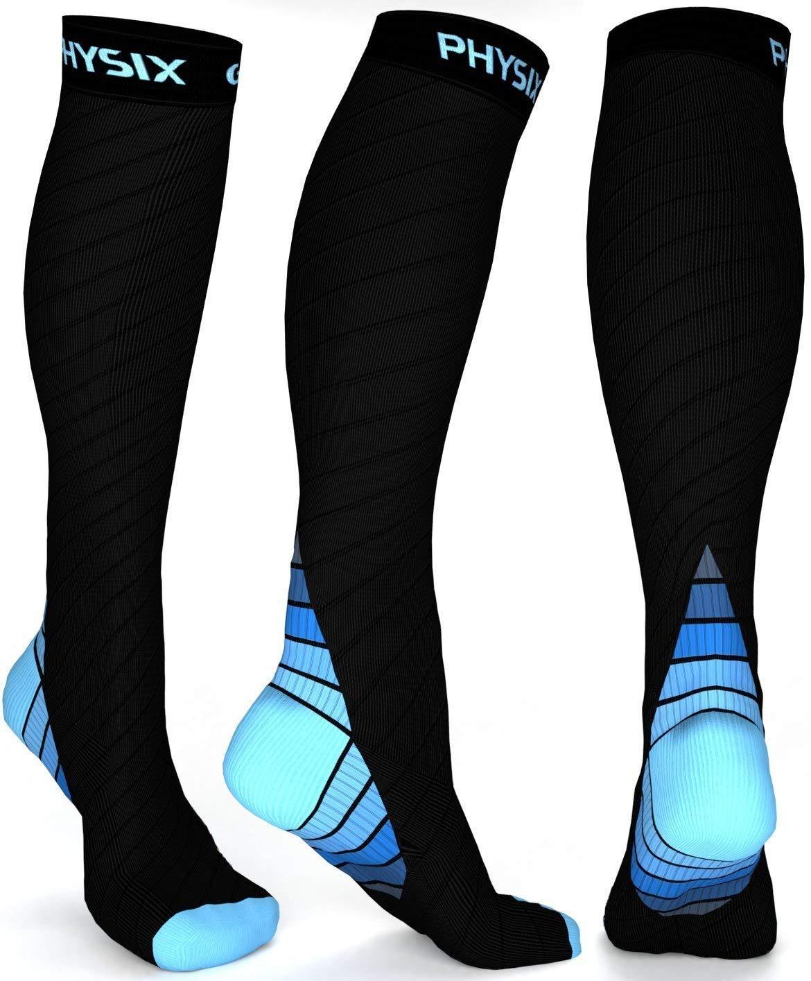 Physix Gearコンプレッションソックス男性用/女性用(2030 mmHg)最高の段階的なフィット ランニング、看護、過労性脛部痛、フライトトラベル&マタニティ妊娠 – スタミナ、循環&回復 (BLACK & BLUE S-M) B01J4MF5UY