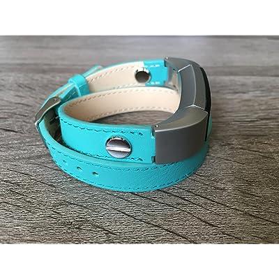 2tours Unique Turquoise Bande de cuir pour Fitbit Alta et Alta HR fait main écologique Bracelet Argent avec rivets en BSI