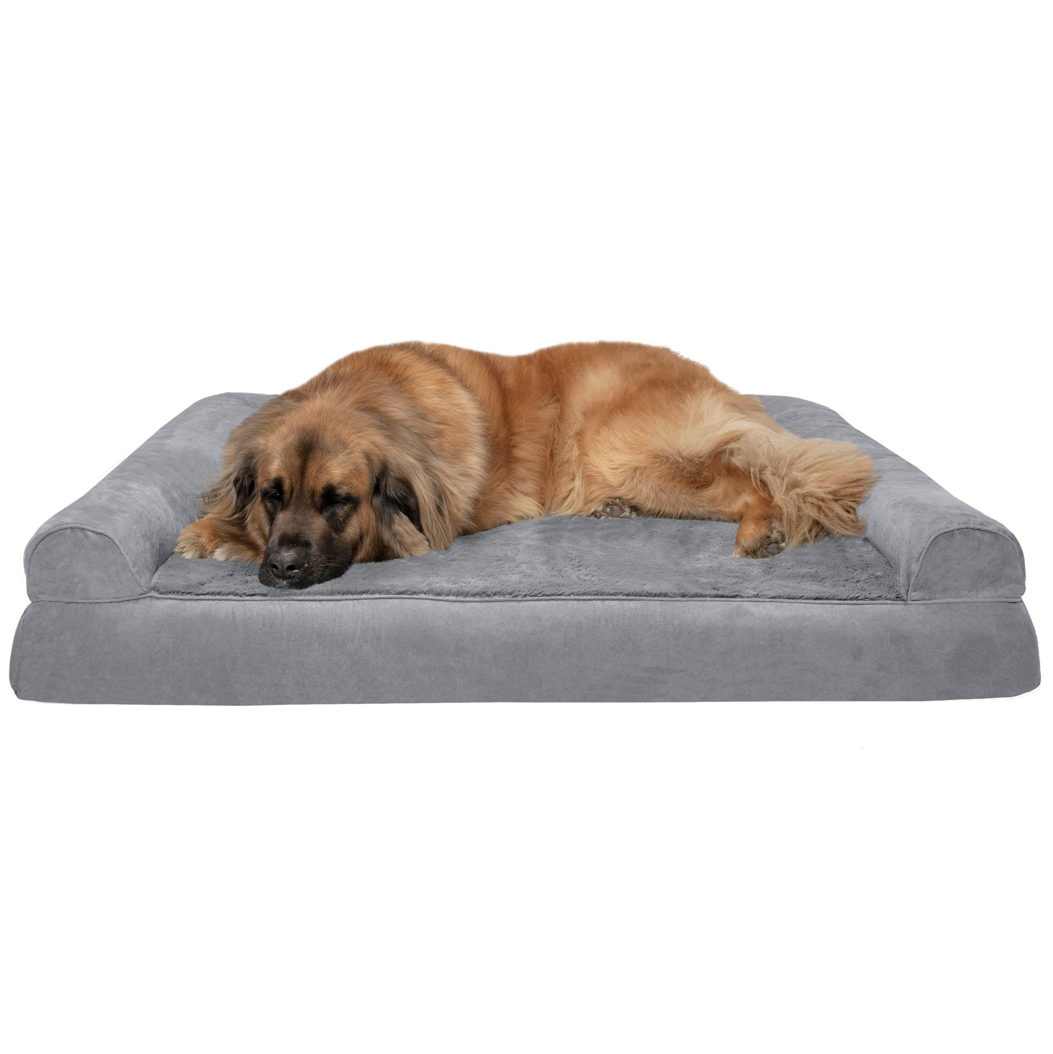 FurHaven Pet Dog Bed | Orthopedic Ultra Plush Sofa-Style Couch Pet Bed for Dogs & Cats, Gray, Jumbo Plus