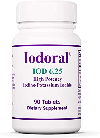 Optimox Iodoral 6.25 mg - Original High Potency Iodine Supplement - Energy Support - 90 Tablets