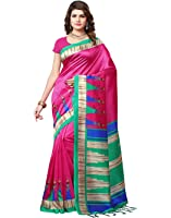e-VASTRAM Women's Mysore Art Silk Printed Saree With Tassel/Kutch(RIMZIMP_Pink)