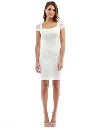 d579dd7ed74 PattyBoutik Women s Square Neck Cap Sleeve Lace Dress (Off-White 12 ...