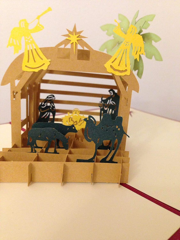 BC Worldwide Ltd hecho a mano 3D pop-up tarjeta de felicitación Navidad Navidad Belén Natividad bebé Jesús nacimiento en el pesebre San José Virgen María ángel con cuerno camello estrella de palmera de oveja