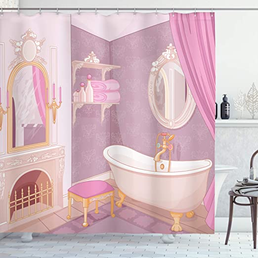 Amazon Com Ambesonne Feminine Shower Curtain Bathroom Design In