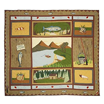 Amazon.com: Patch Magic Queen Gone Fishing Quilt, 85-Inch by 95 ... : fishing quilt - Adamdwight.com