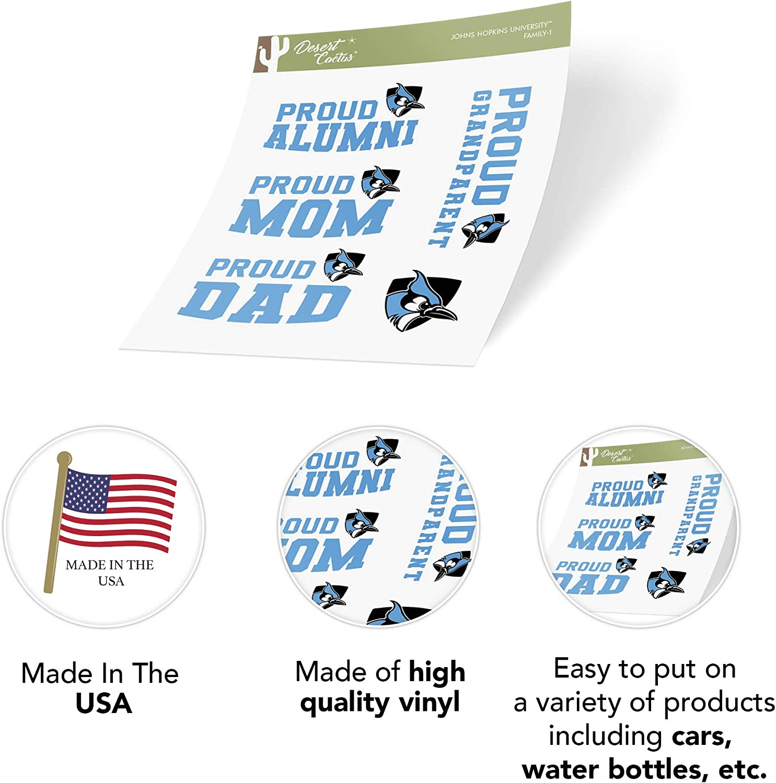 Family Full Sheet Johns Hopkins University JHU Blue Jays NCAA Sticker Vinyl Decal Laptop Water Bottle Car Scrapbook