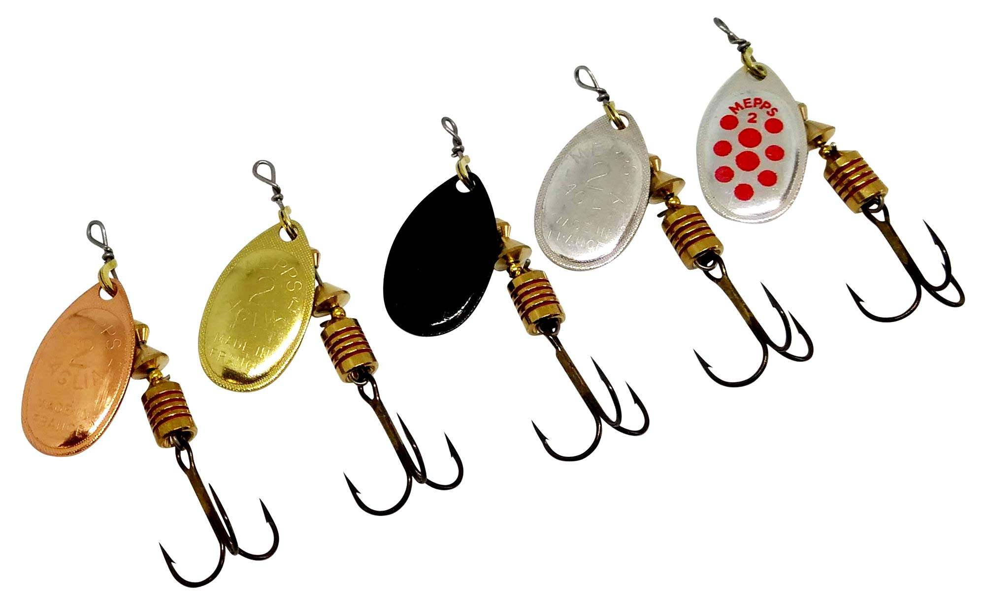 Fishing Spinners Set of 5, Best selections from Mepps, Savage Gear, Blue Fox - Best Lures for Bass, Trout, Salmon, Crappie and Musky Fishing (#2, S/G/C/BL/SRD) by Lureshop eu