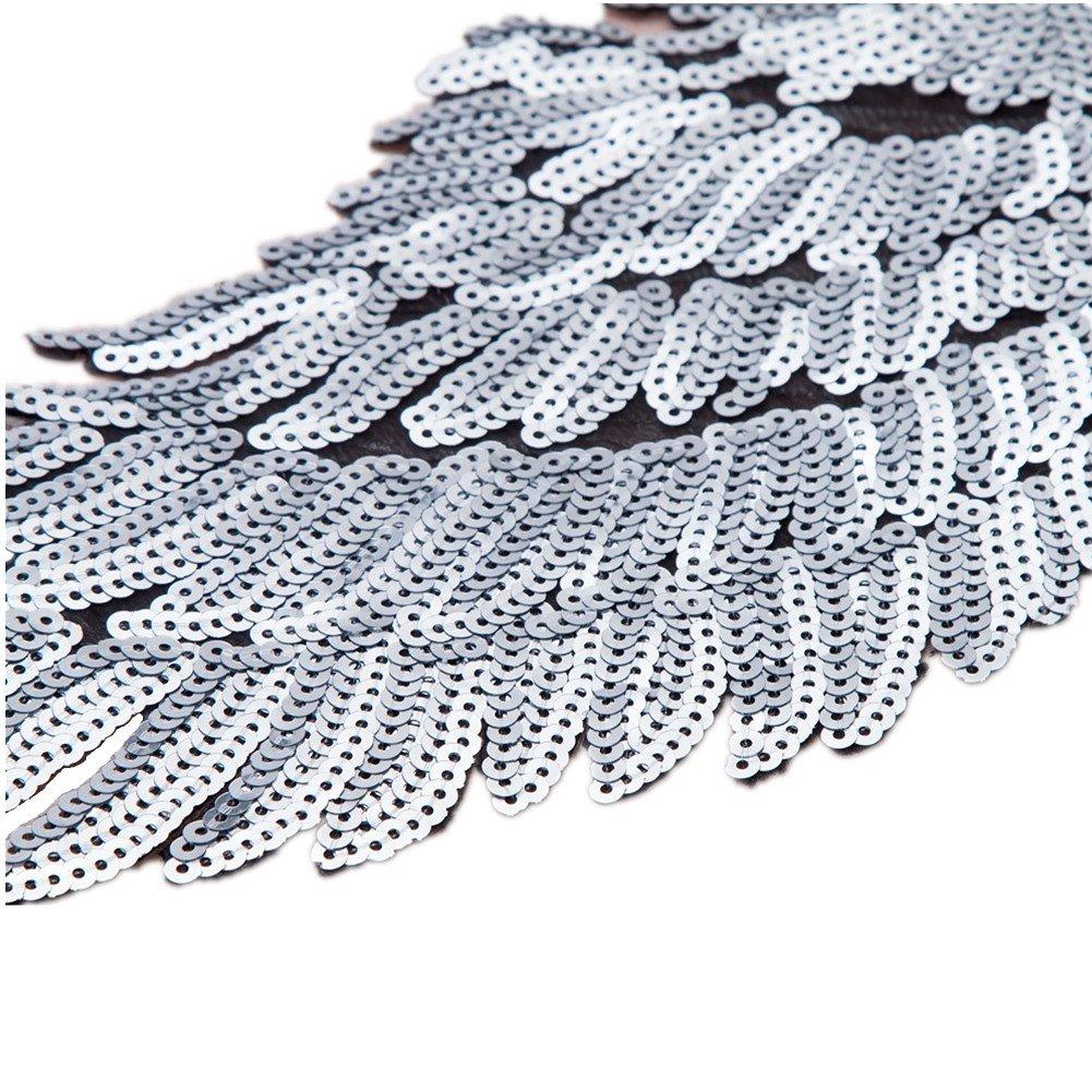 1 par de parches de lentejuelas con alas de ángel para coser o coser en apliques, diseño bordado para accesorios de ropa DIY., plata, ...