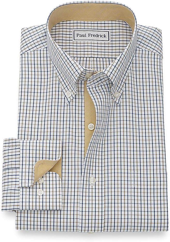 Paul Fredrick Mens Tailored Fit Non-Iron Cotton Plaid Button Down Dress Shirt
