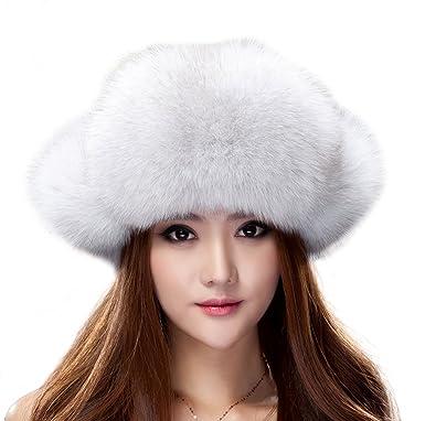 25447c785dc URSFUR Blue Fox Fur   Fabric Russian Ushanka Hats with Pom Poms at ...