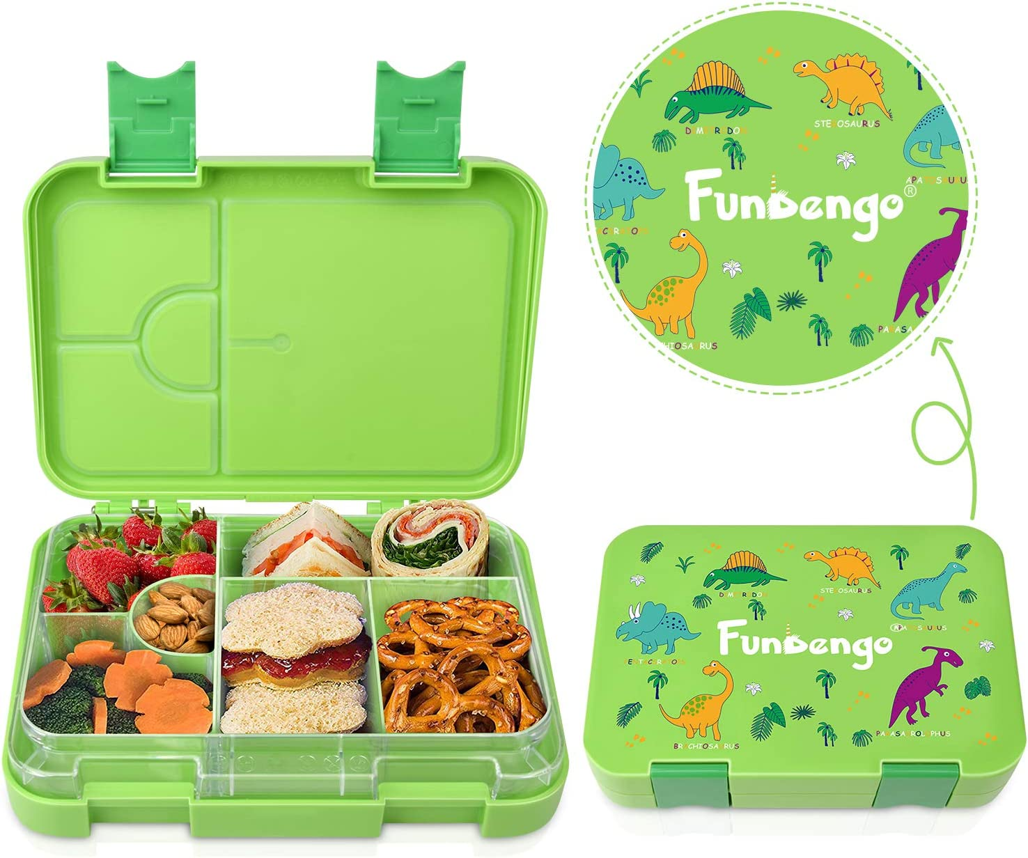 Kids Bento Box Lunch Box-Durable, Leak-Proof, 4 or 6 Perfectly Proportioned Kid-Sized Compartments BPA-Free and Food-Safe Materials Bento Box Containers (Green Dinosaur)