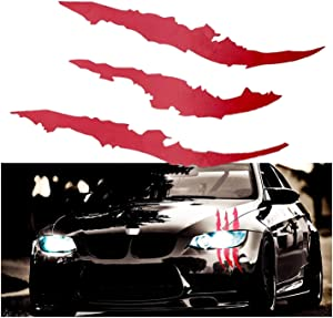 "Xotic Tech 12"" Vinyl Headlight Taillight Claw Scar Scratch Decal Monster Stripe Decor Sticker (Red)"
