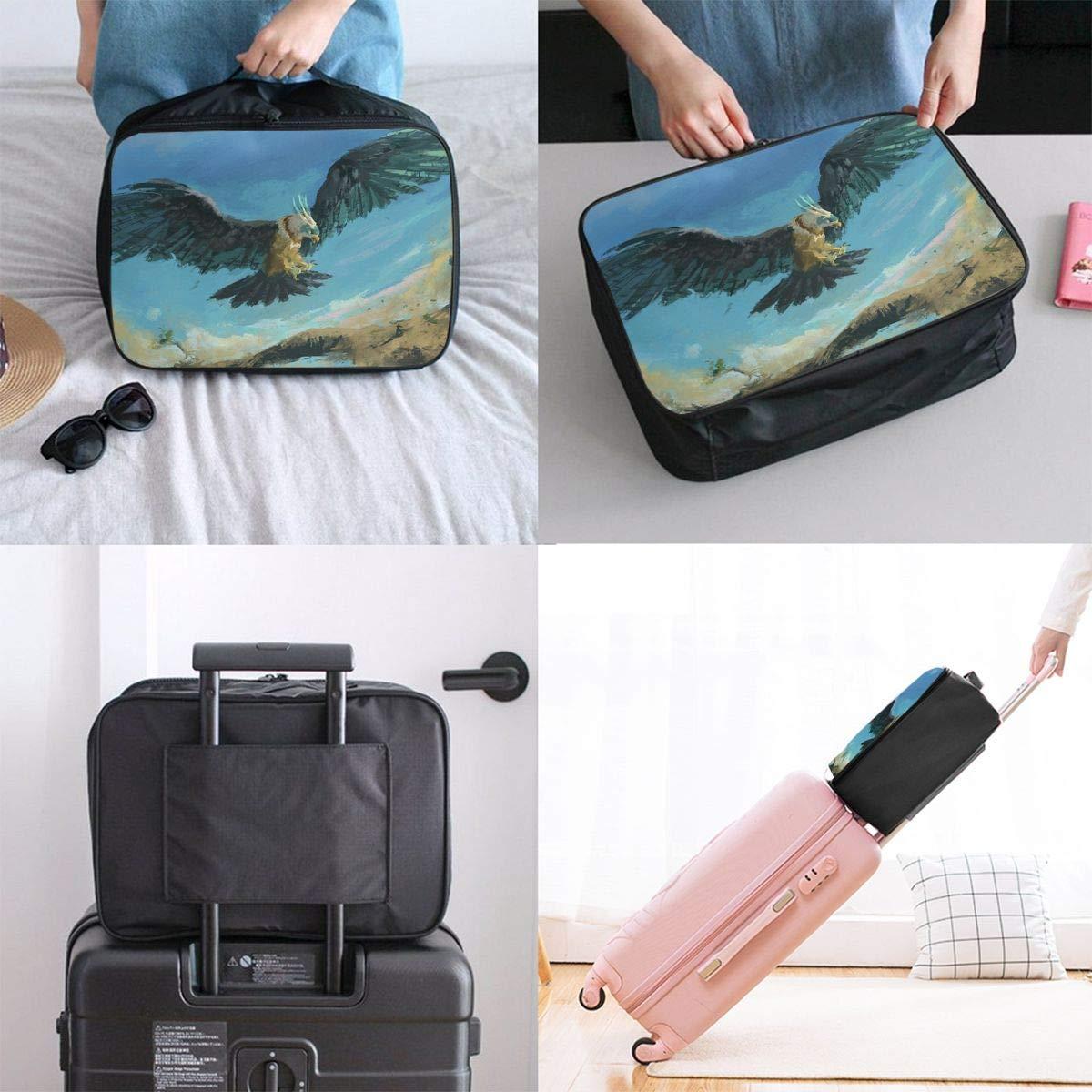 Lightweight Large Capacity Portable Luggage Bag Eagle Bird Print Travel Duffel Bag Backpack