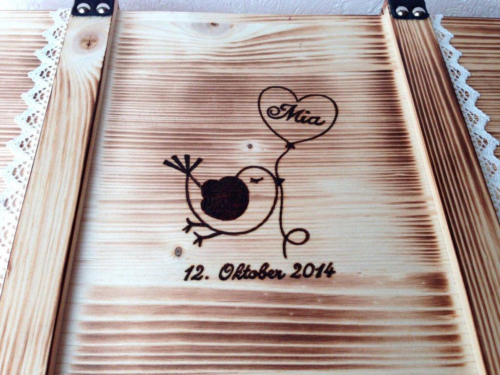 Große Baby Erinnerungskiste Vintage aus Holz mit Wunschmotiv - Babygeschenk personalisiert - Erinnerungsbox mit Gravur -