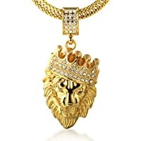 Halukakah Kings Landing Men's 18k Real Gold Plated Crown Lion Pendant Necklace Artificial Diamonds Set with Free Fishtail Chain 30""
